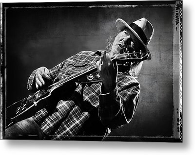 Neil Young On Guitar In Black And White With Grungy Frame  Metal Print by Jennifer Rondinelli Reilly - Fine Art Photography