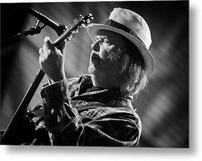 Neil Young In Black And White 2 Metal Print by Jennifer Rondinelli Reilly - Fine Art Photography