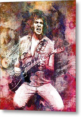 Neil Young Original Painting Print Metal Print by Ryan Rock Artist