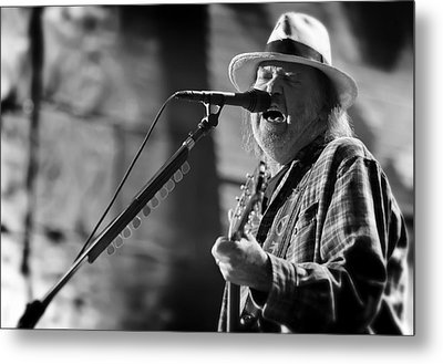 Neil Young Performing At Farm Aid In Black And White Metal Print by Jennifer Rondinelli Reilly - Fine Art Photography