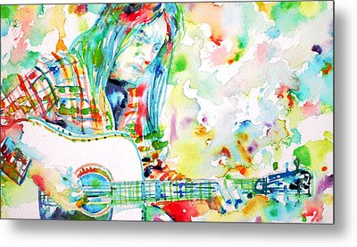 Neil Young Playing The Guitar - Watercolor Portrait.1 Metal Print