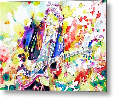 Neil Young Playing The Guitar - Watercolor Portrait.2 Metal Print