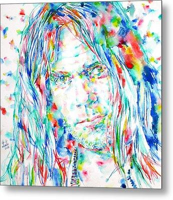 Neil Young - Watercolor Portrait Metal Print