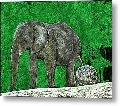 Metal Print featuring the digital art Nelly The Elephant by Pennie  McCracken