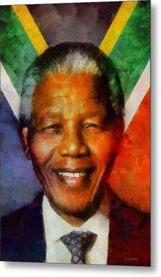 Metal Print featuring the digital art Nelson Mandela 1918-2013 by Kai Saarto