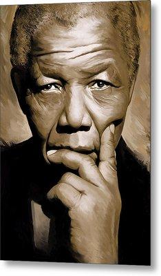 Nelson Mandela Artwork Metal Print by Sheraz A