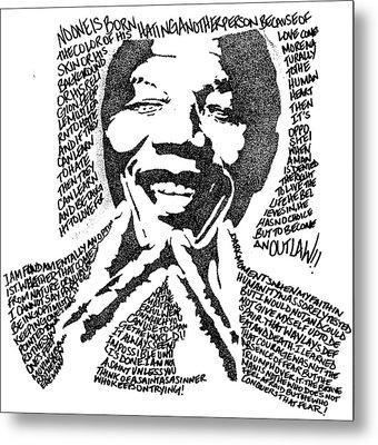 Nelson Mandela Metal Print by Carlos Santana Trott