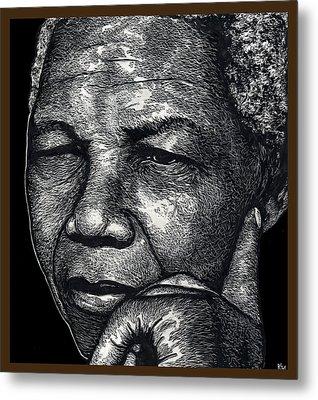 Nelson Mandela Portrait Metal Print by Ricardo Levins Morales