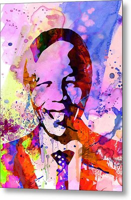 Nelson Mandela Watercolor Metal Print