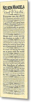 Nelson Mandela Words And Wisdom - Vertical Metal Print