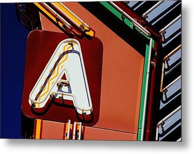 Neon A - Aztec Theater Metal Print by Daniel Woodrum