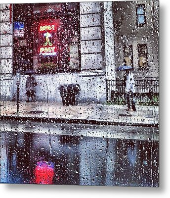 Neon And Rain Metal Print