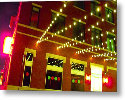 Neon And Strings Of Lights  Metal Print by ARTography by Pamela Smale Williams