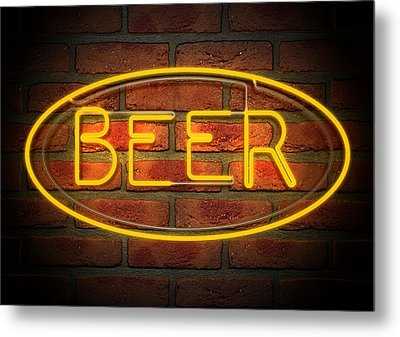 Neon Beer Sign On A Face Brick Wall Metal Print