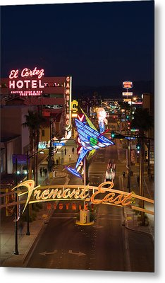 Neon Casino Signs Lit Up At Dusk, El Metal Print by Panoramic Images
