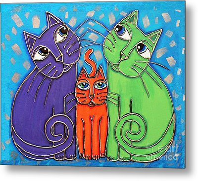 Neon Cat Trio #1 Metal Print by Cynthia Snyder