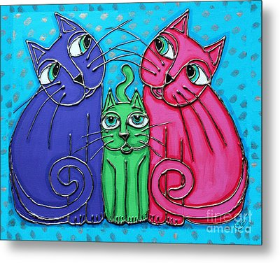 Neon Cat Trio #2 Metal Print by Cynthia Snyder