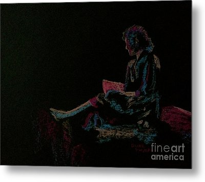 Neon Girl With Book Metal Print by Diane Phelps