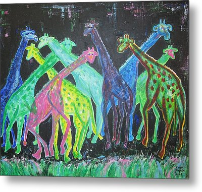 Metal Print featuring the painting Neon Longnecks by Diane Pape