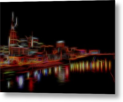 Neon Nashville Skyline At Night Metal Print by Dan Sproul