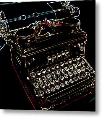 Neon Old Typewriter Metal Print by Ernie Echols