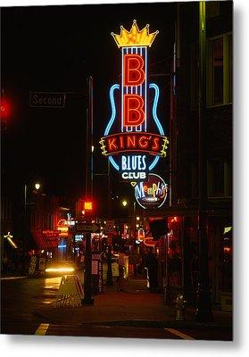 Neon Sign Lit Up At Night, B. B. Kings Metal Print by Panoramic Images