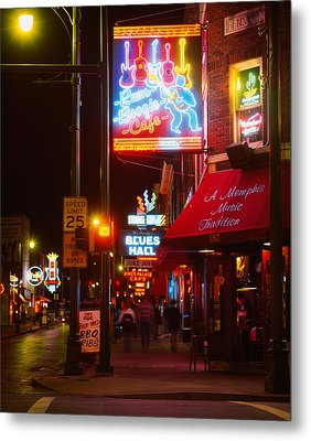 Neon Sign Lit Up At Night In A City Metal Print by Panoramic Images