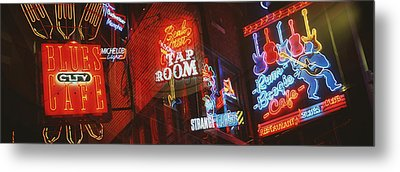 Neon Signs, Beale Street, Memphis Metal Print by Panoramic Images