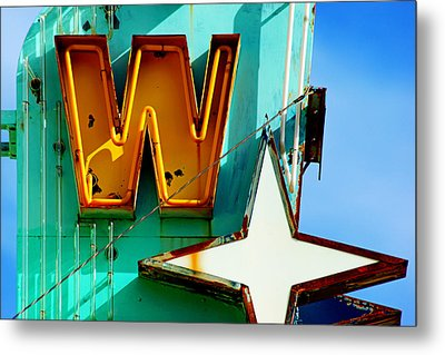 Metal Print featuring the photograph Neon W - The West Theater by Daniel Woodrum