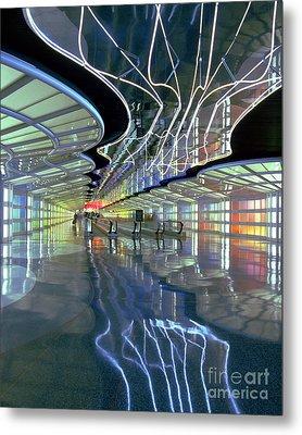 Neon Walkway At Ohare Metal Print by Martin Konopacki