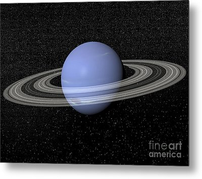 Neptune And Its Rings Against A Starry Metal Print by Elena Duvernay