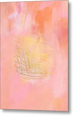 Nest- Pink And Gold Abstract Art Metal Print