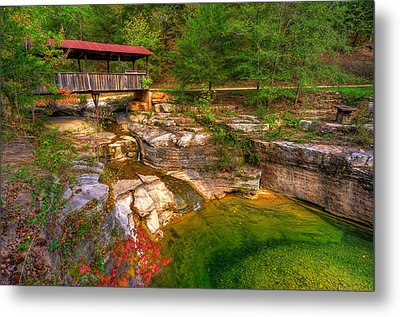 Covered Bridge In Spring - Ponca Arkansas Metal Print by Gregory Ballos