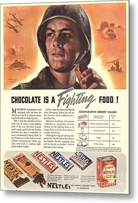 Nestle�s 1940s Usa Propaganda Chocolate Metal Print by The Advertising Archives