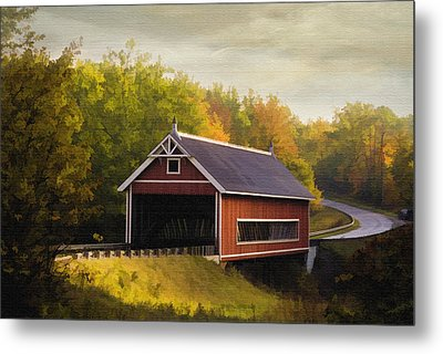 Netcher Road Covered Bridge Metal Print by Mary Timman