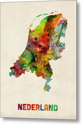 Netherlands Watercolor Map Metal Print by Michael Tompsett
