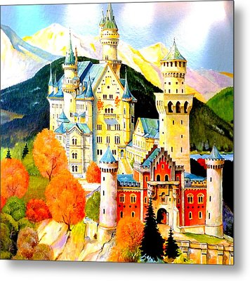 Neuschwanstein Castle In The Fall Metal Print
