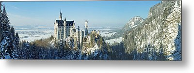 Neuschwanstein Castle Panorama In Winter Metal Print by Rudi Prott