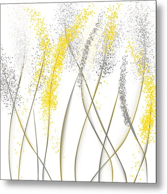Neutral Sunshine - Yellow And Gray Modern Art Metal Print