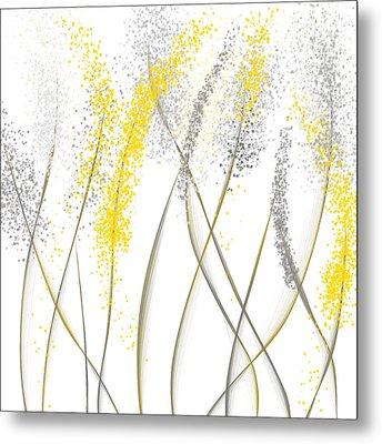 Neutral Sunshine - Yellow And Gray Modern Art Metal Print by Lourry Legarde