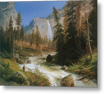 Nevada Fall Yosemite Metal Print by Herman Herzog