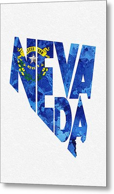 Nevada Typographic Map Flag Metal Print by Ayse Deniz