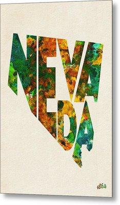 Nevada Typographic Watercolor Map Metal Print by Ayse Deniz