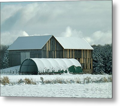 Metal Print featuring the photograph New And Old Barn Planks by Brenda Brown
