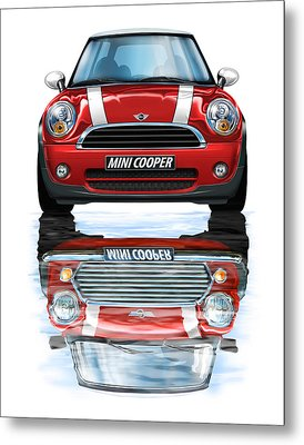 New Bmw Mini Cooper Red Metal Print by David Kyte