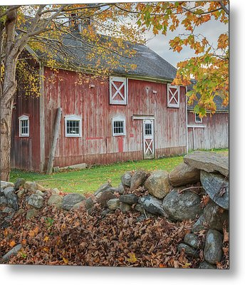 New England Barn Square Metal Print by Bill Wakeley