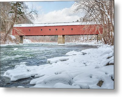 New England Covered Bridge Winter Metal Print by Bill Wakeley