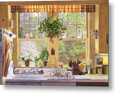 New England Kitchen Window Metal Print by Mary Helmreich