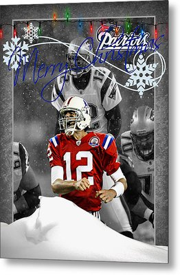 New England Patriots Christmas Card Metal Print