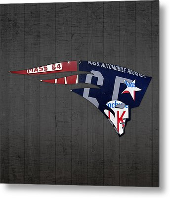 New England Patriots Football Team Retro Logo Massachusetts License Plate Art Metal Print